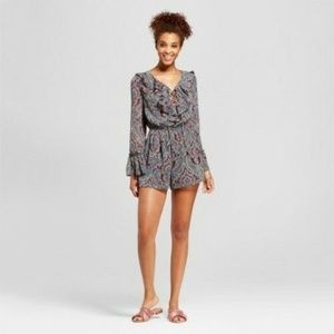 Xhilaration Juniors Lace Up Long Sleeve Romper NEW